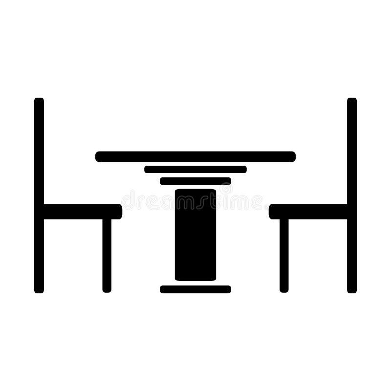 Ícone da tabela e das cadeiras ilustração do vetor