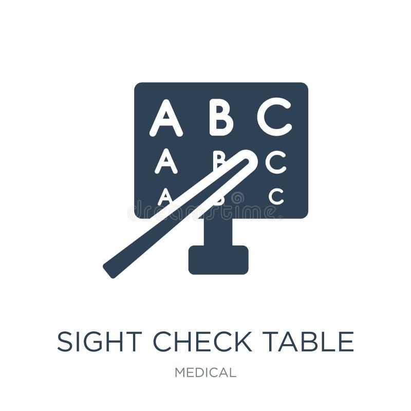 ícone da tabela da verificação de vista no estilo na moda do projeto ícone da tabela da verificação de vista isolado no fundo bra ilustração stock