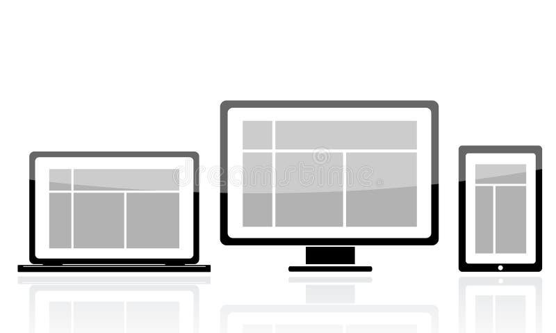 Ícone da tabuleta do monitor do portátil ilustração stock