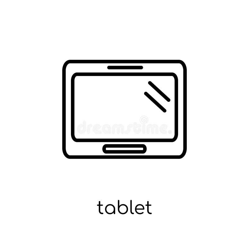 Ícone da tabuleta Ícone linear liso moderno na moda da tabuleta do vetor no whi ilustração royalty free