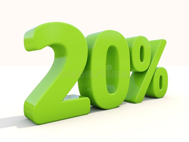 ícone da taxa de porcentagem de 20% em um fundo branco fotos de stock royalty free