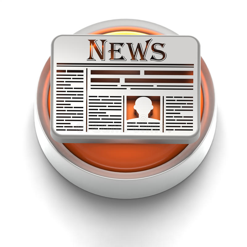 Ícone da tecla: Notícia ilustração stock
