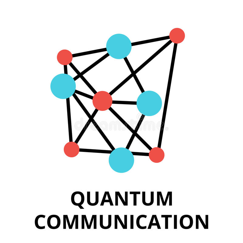 Ícone da tecnologia futura - uma comunicação do quantum ilustração do vetor
