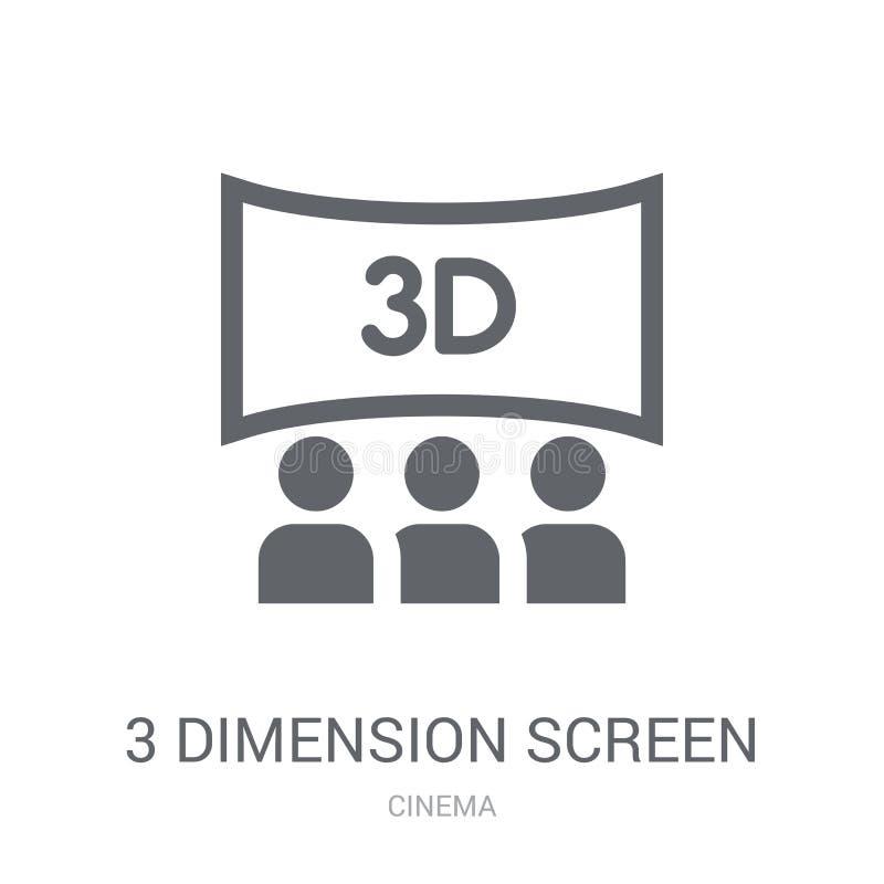 ícone da tela de 3 dimensões Conceito na moda do logotipo da tela de 3 dimensões ilustração do vetor