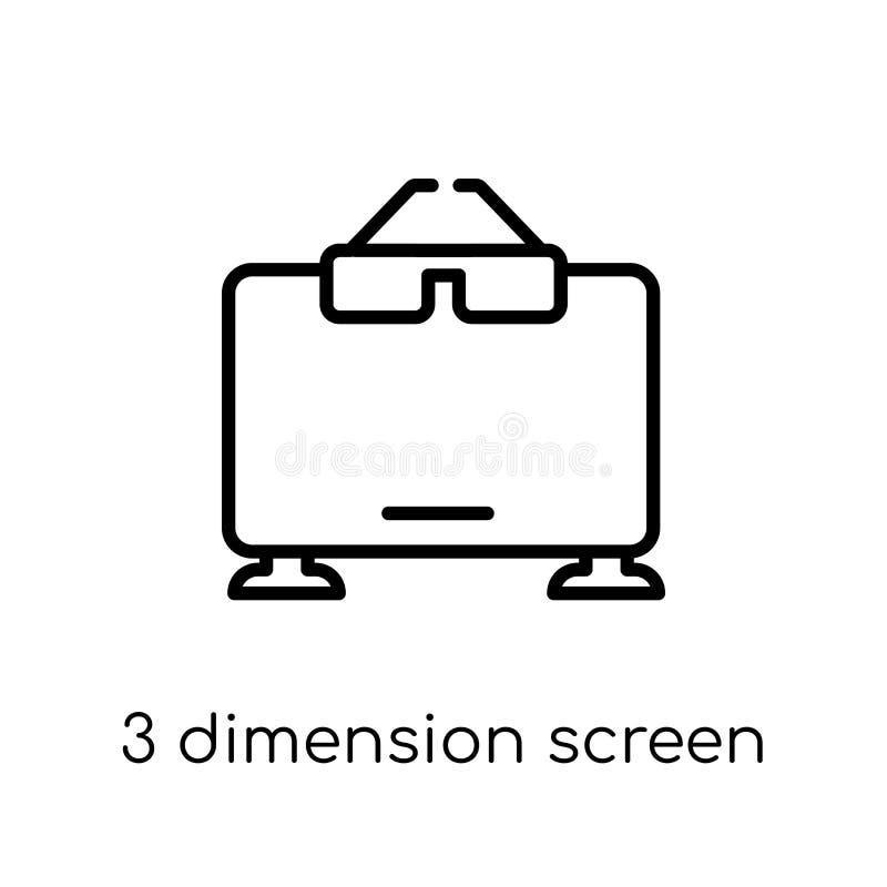 ícone da tela de 3 dimensões Moeda de dez centavos linear lisa moderna na moda do vetor 3 ilustração stock
