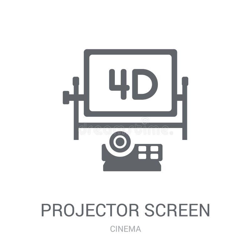 Ícone da tela do projetor  ilustração stock