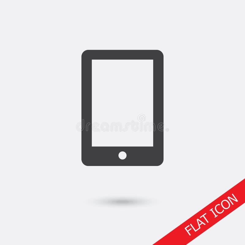 Ícone da tela da tabuleta com a tela vazia isolada Sinal liso simples moderno do dispositivo Conceito do computador do Internet M ilustração royalty free