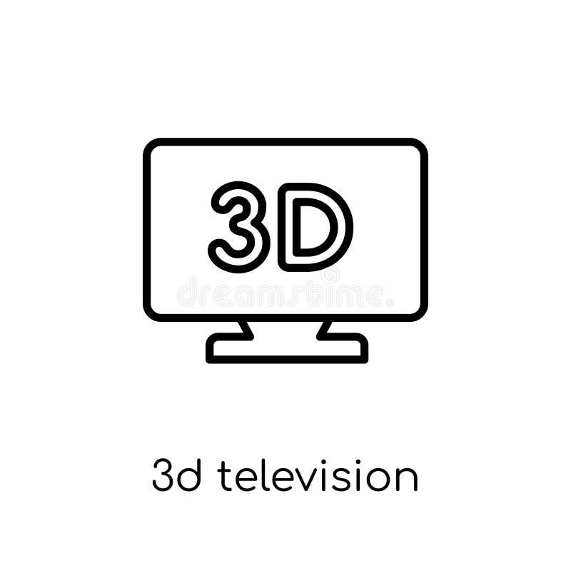 ícone da televisão 3D Vetor linear liso moderno na moda 3D Televisi ilustração stock