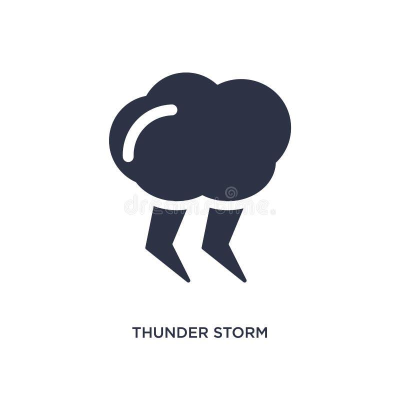 ícone da tempestade do trovão no fundo branco Ilustração simples do elemento do conceito da meteorologia ilustração do vetor