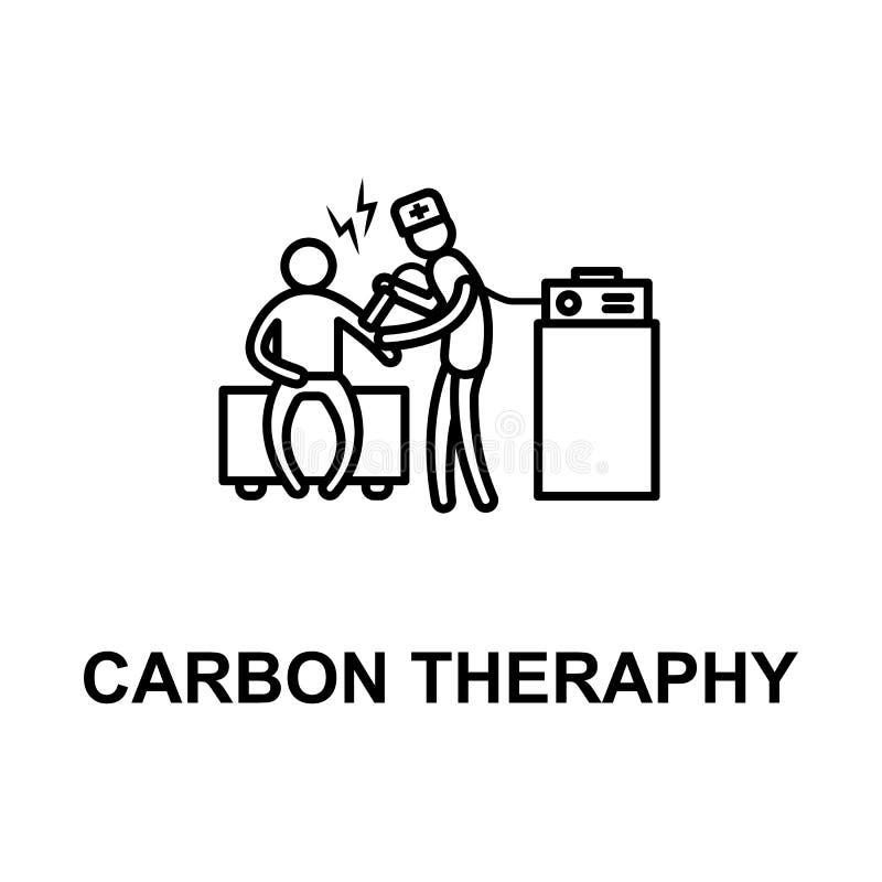 ícone da terapia do carbono Elemento do tratamento com nome para apps móveis do conceito e da Web A linha fina ícone da terapia d ilustração do vetor