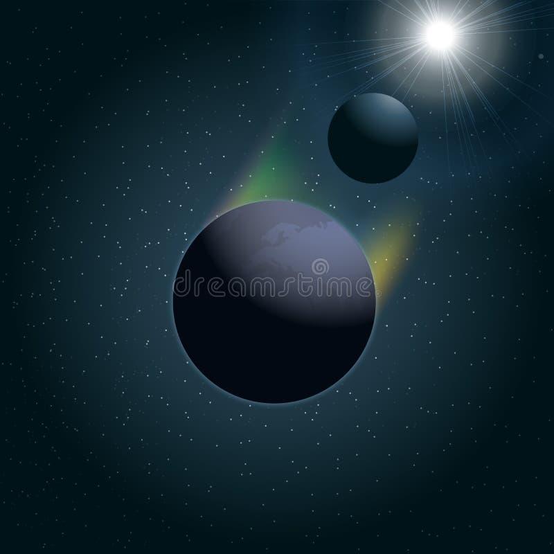Ícone da terra do planeta do vetor de Digitas com lua ilustração do vetor
