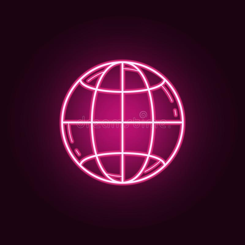 Ícone da terra do planeta Elementos dos meios nos ícones de néon do estilo Ícone simples para Web site, design web, app móvel, gr ilustração do vetor