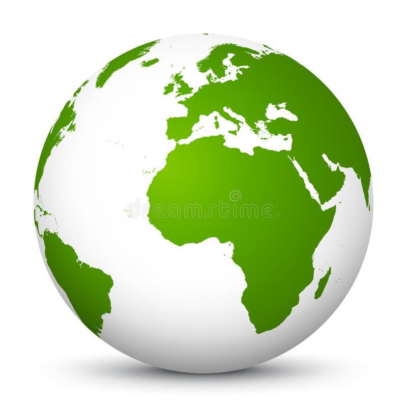 Ícone da terra do planeta - símbolo do globo do vetor 3D com continentes verdes Europa, África, Ásia - ilustração do vetor ilustração do vetor