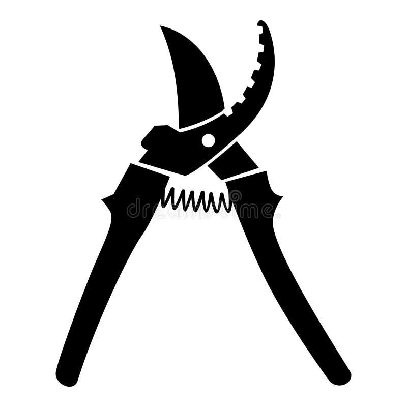 Ícone da tesoura de podar manual, estilo preto simples ilustração royalty free