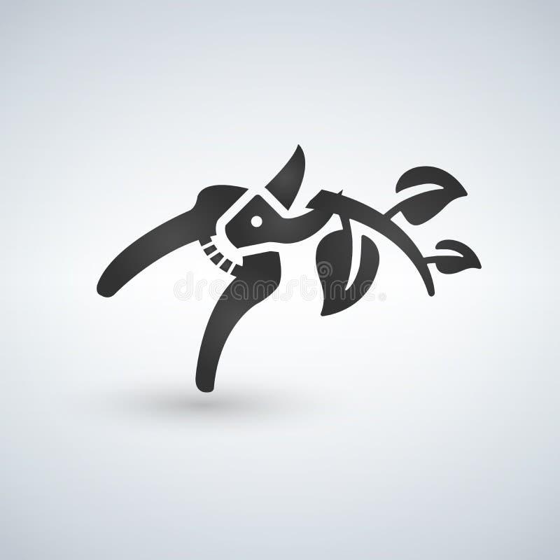 ícone da tesoura de podar manual que corta o ramo ilustração do vetor