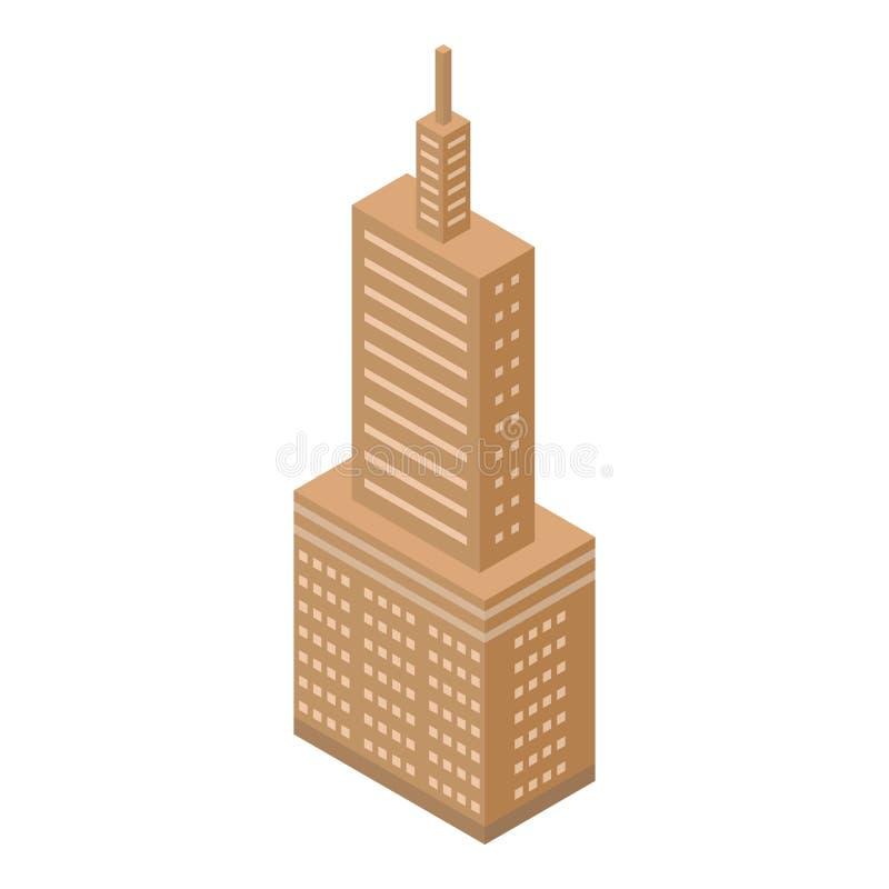 Ícone da torre alta de Brown, estilo isométrico ilustração royalty free