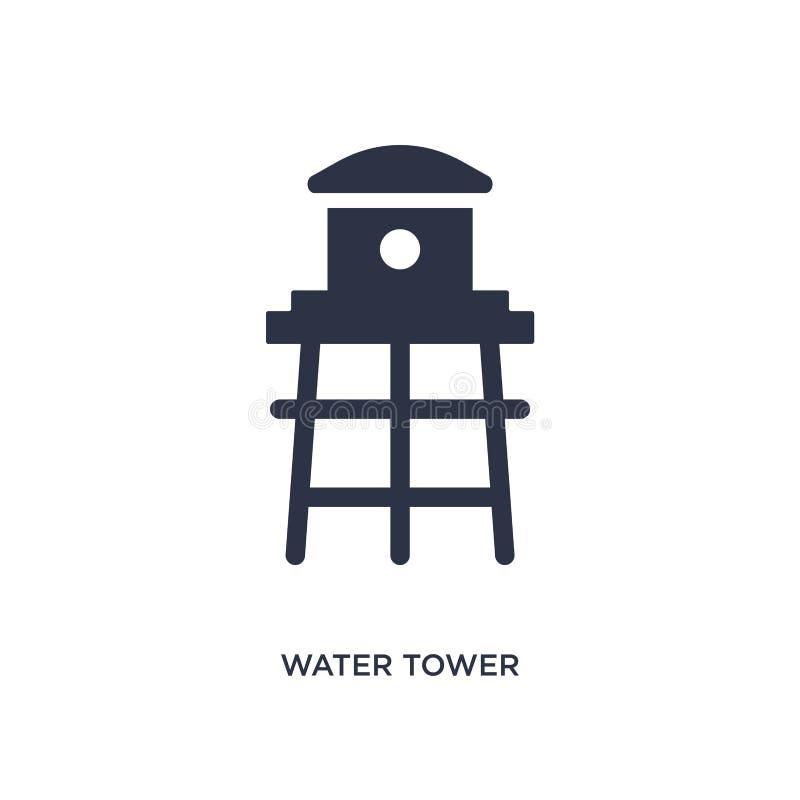 Ícone da torre de água no fundo branco Ilustração simples do elemento do conceito de cultivo e de jardinagem da agricultura ilustração royalty free