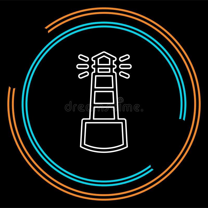 Ícone da torre do mar da navegação - farol do vetor ilustração royalty free