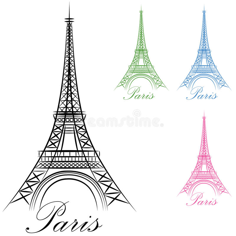 Ícone da torre Eiffel de Paris ilustração stock