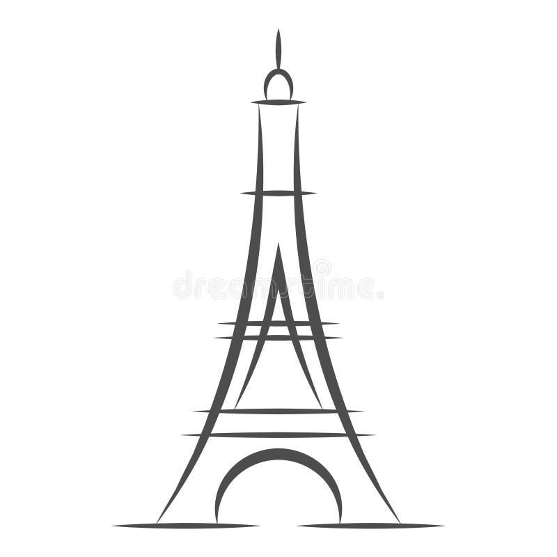 Ícone da torre Eiffel isolado no fundo branco O francês Paris eleva-se ilustração preta do vetor das silhuetas ilustração stock