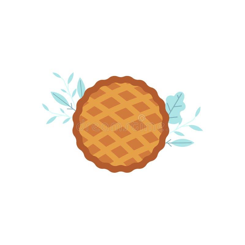 Ícone da torta da ação de graças do vetor Símbolo da celebração da colheita do dia de ação de graças e do outono ilustração royalty free