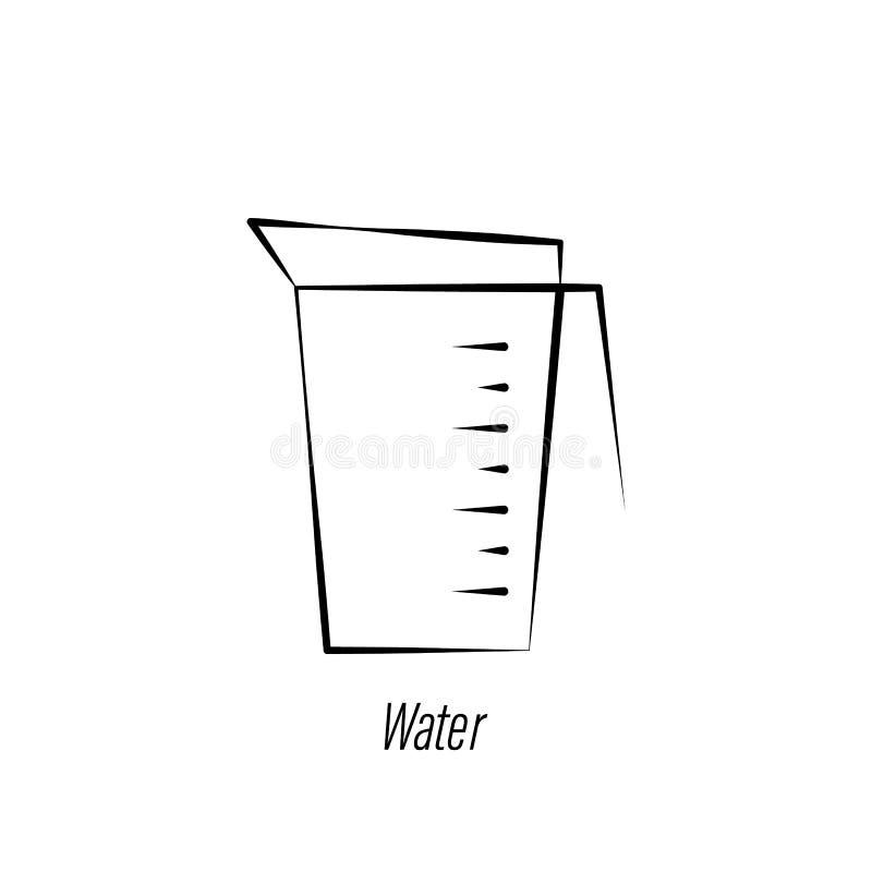 ?cone da tra??o da m?o da ?gua do caf? r Os sinais e os s?mbolos podem ser usados para a Web, logotipo, app m?vel, UI, UX ilustração stock
