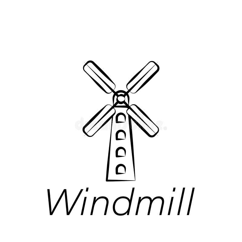 Ícone da tração da mão do moinho de vento Elemento de cultivar ícones da ilustração Os sinais e os símbolos podem ser usados para ilustração do vetor