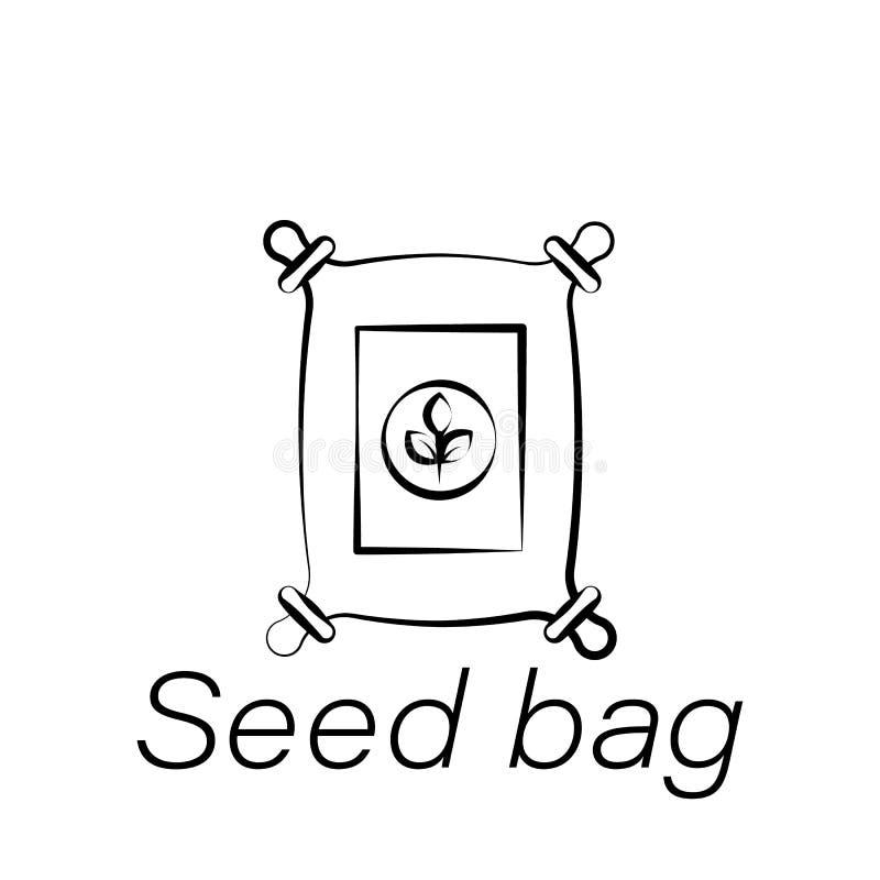 Ícone da tração da mão do saco da semente Elemento de cultivar ícones da ilustração Os sinais e os símbolos podem ser usados para ilustração royalty free