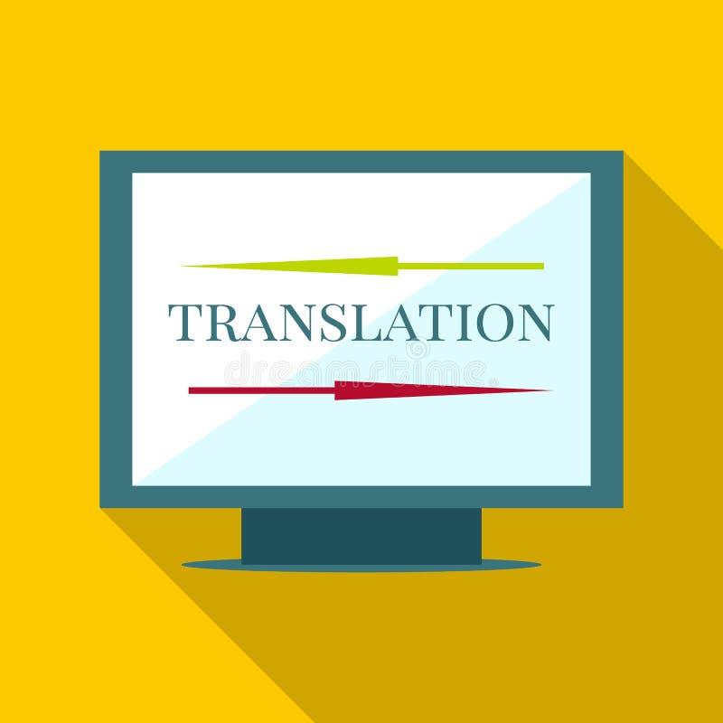 Ícone da tradução de computador, estilo liso ilustração royalty free