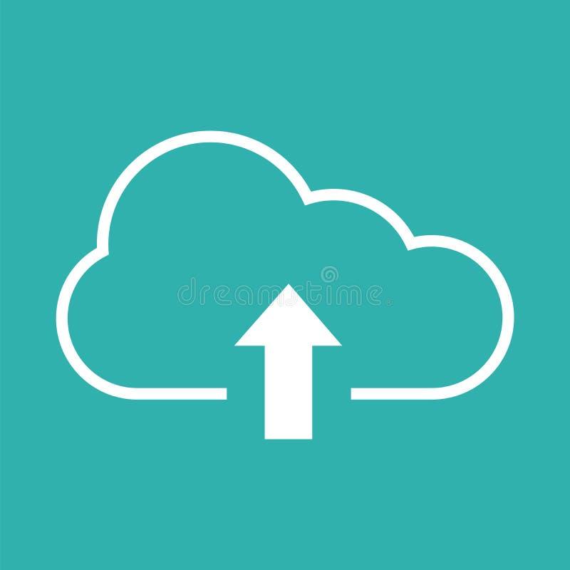 Ícone da transferência de arquivo pela rede com nuvem e seta ilustração stock