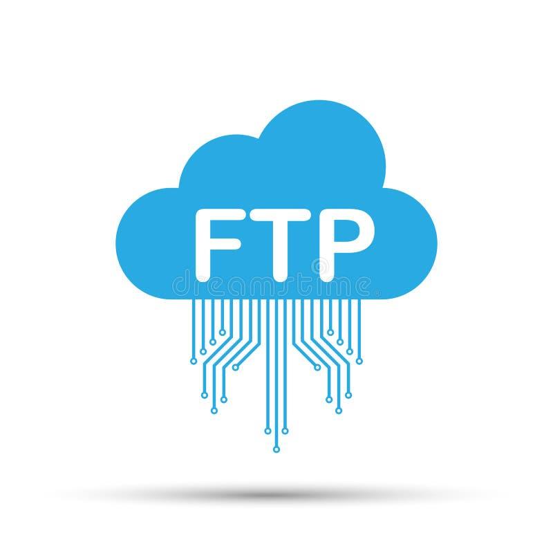 Ícone da transferência de arquivos do ftp no fundo branco Ícone da tecnologia do ftp Dados de transferência ao servidor Ilustraçã ilustração do vetor