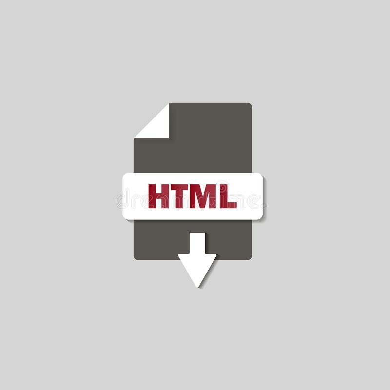 Ícone da transferência do HTML no fundo Botão do HTML ilustração stock