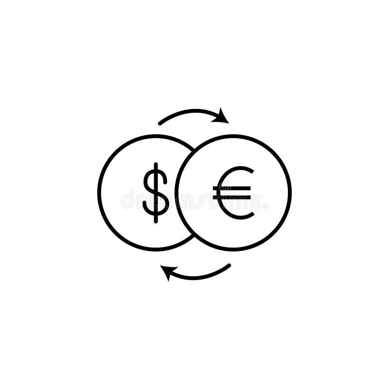 Ícone da troca do dólar euro- Elemento do ícone popular da finança Projeto gráfico da qualidade superior Sinais, ícone da coleção imagem de stock