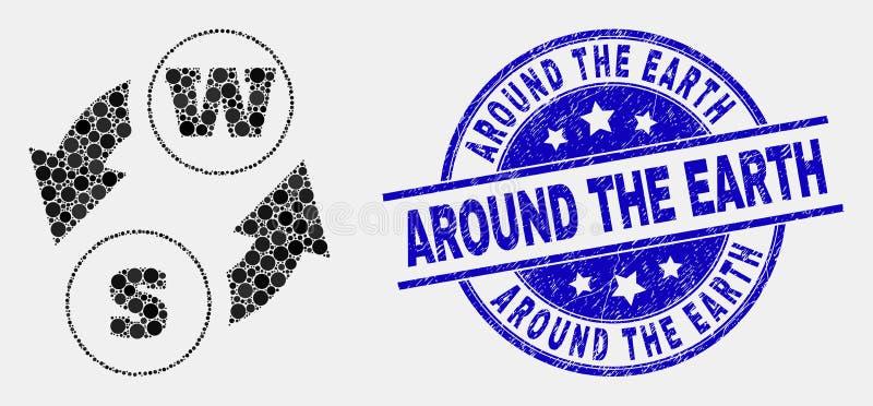 Ícone da troca dos caráteres do alfabeto de Pixelated do vetor e riscado em torno do selo da terra ilustração stock