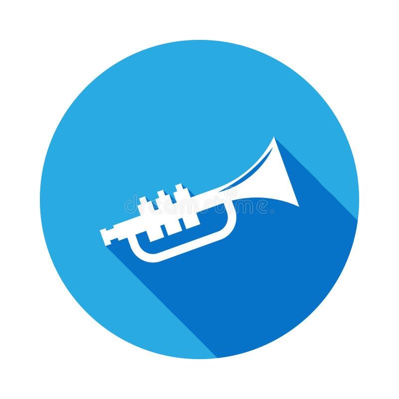 ícone da trombeta com sombra longa Elemento da ilustração da música Sinal superior do projeto gráfico da qualidade Os sinais e os ilustração do vetor