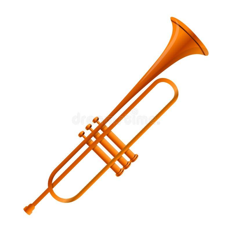 Ícone da trombeta do ouro, estilo dos desenhos animados ilustração stock