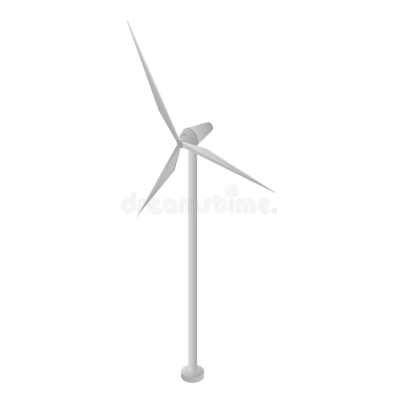 Ícone da turbina eólica da energia, estilo isométrico ilustração do vetor