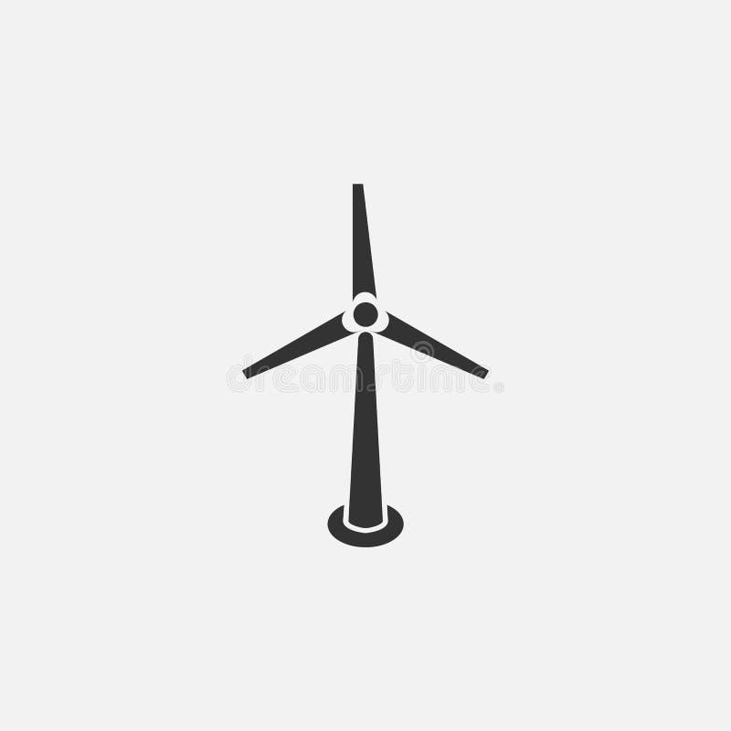 Ícone da turbina eólica, moinho de vento, tecnologia, energia ilustração stock