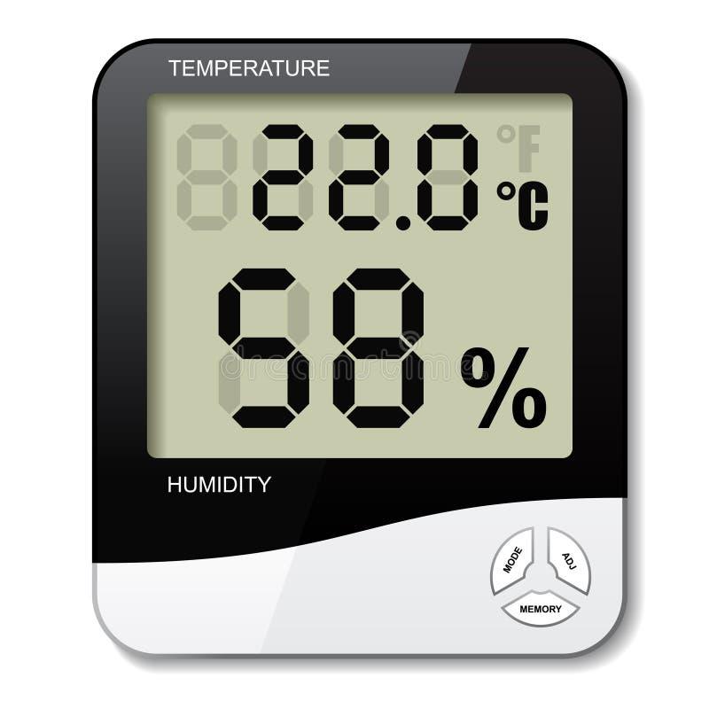 Ícone da umidade do higrômetro do termômetro de Digitas ilustração royalty free