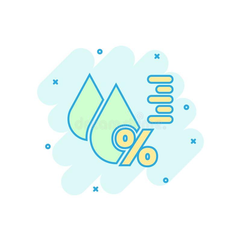 Ícone da umidade no estilo cômico Ilustração dos desenhos animados do vetor do clima no fundo isolado branco Neg?cio da previs?o  ilustração do vetor