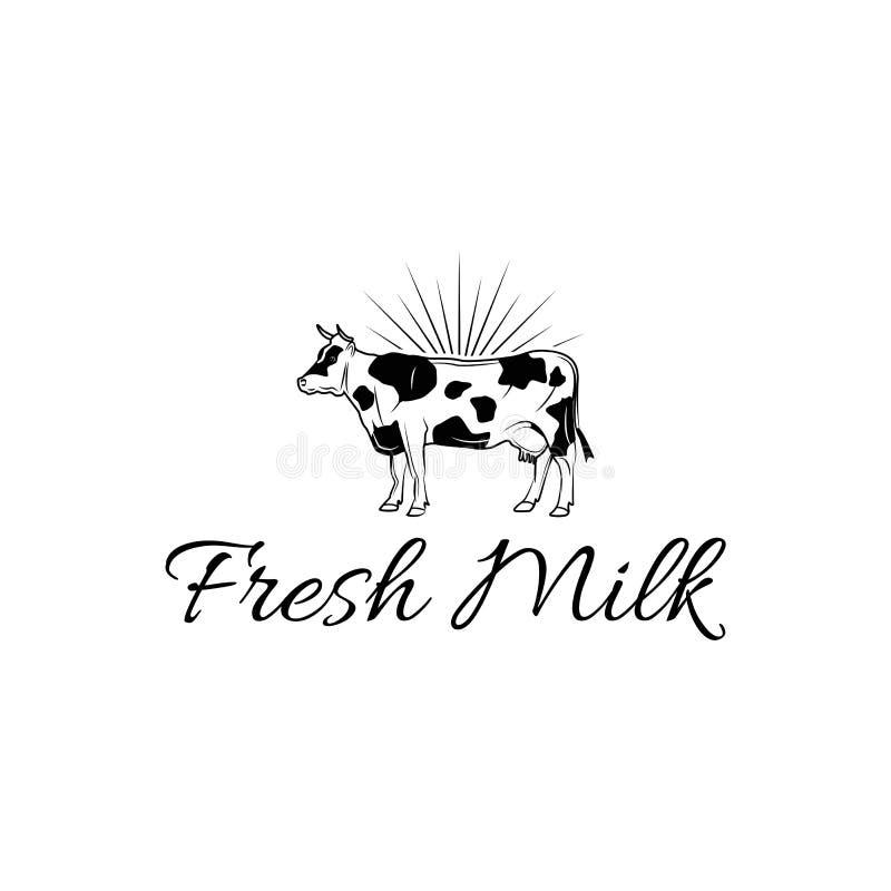 Ícone da vaca Etiqueta do leite Logotipo da exploração agrícola de leiteria Ícone orgânico do conceito do Logotype dos produtos d ilustração do vetor