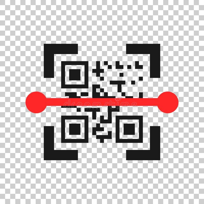 Ícone da varredura do código de Qr no estilo transparente Ilustração do vetor da identificação do varredor no fundo isolado Conce ilustração royalty free