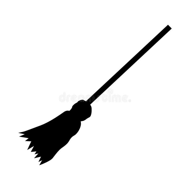Ícone da vassoura de bruxa, estilo simples ilustração do vetor