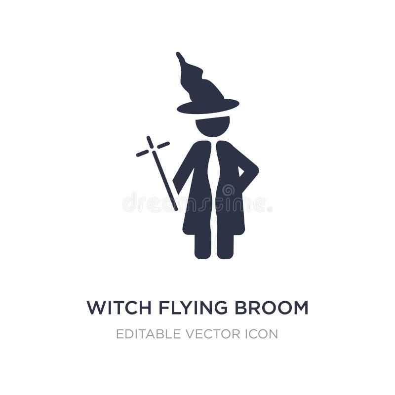 ícone da vassoura do voo da bruxa no fundo branco Ilustração simples do elemento do conceito dos povos ilustração do vetor