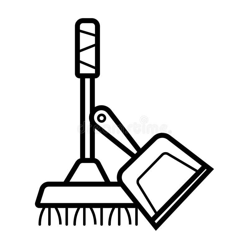 Ícone da vassoura e do pá-de-lixo ilustração do vetor