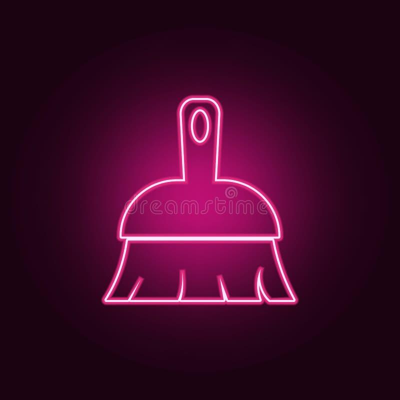 Ícone da vassoura Elementos da segurança do cyber nos ícones de néon do estilo Ícone simples para Web site, design web, app móvel ilustração do vetor