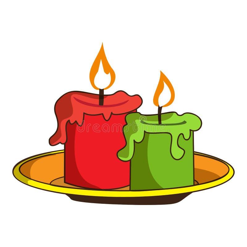 Ícone da vela de Dia das Bruxas, estilo dos desenhos animados ilustração stock