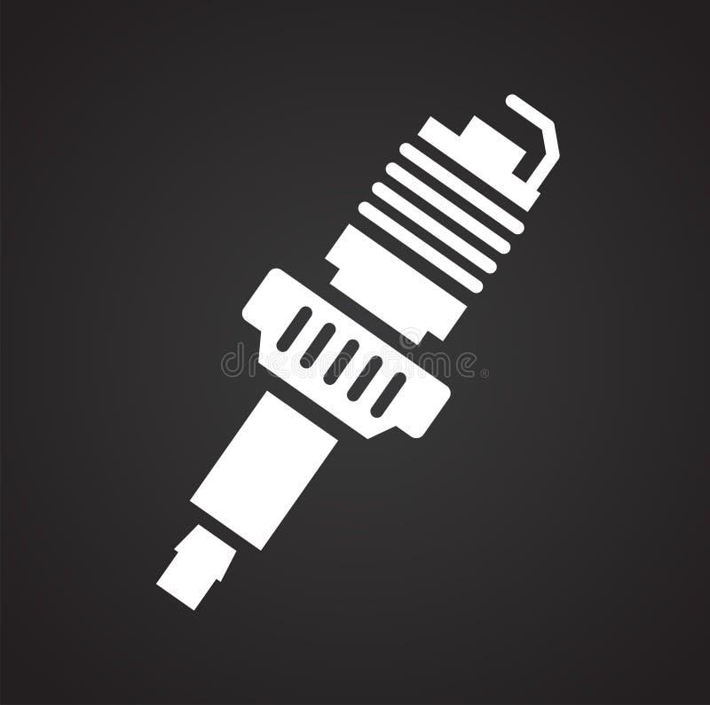 Ícone da vela de ignição do carro no fundo preto para o gráfico e o design web, sinal simples moderno do vetor Conceito do Intern ilustração royalty free