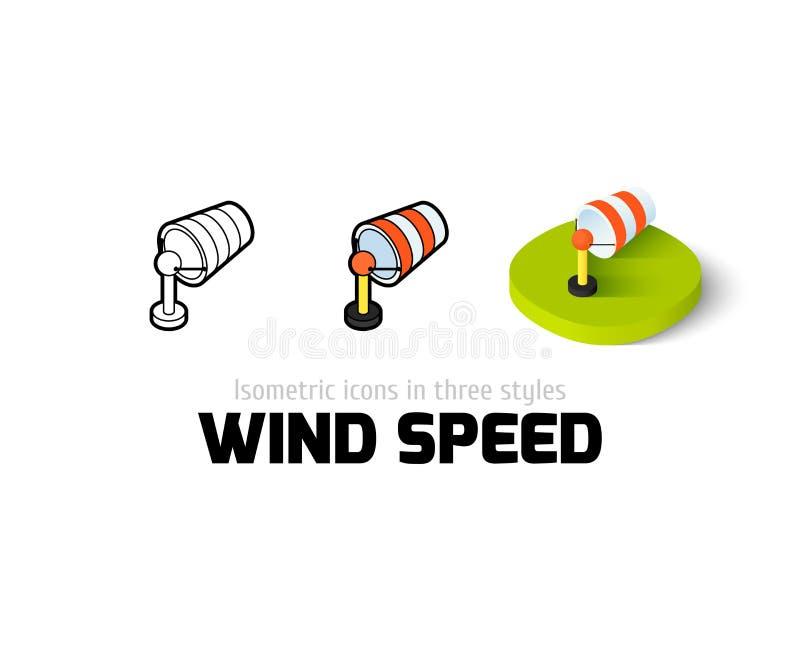 Ícone da velocidade do vento no estilo diferente ilustração stock