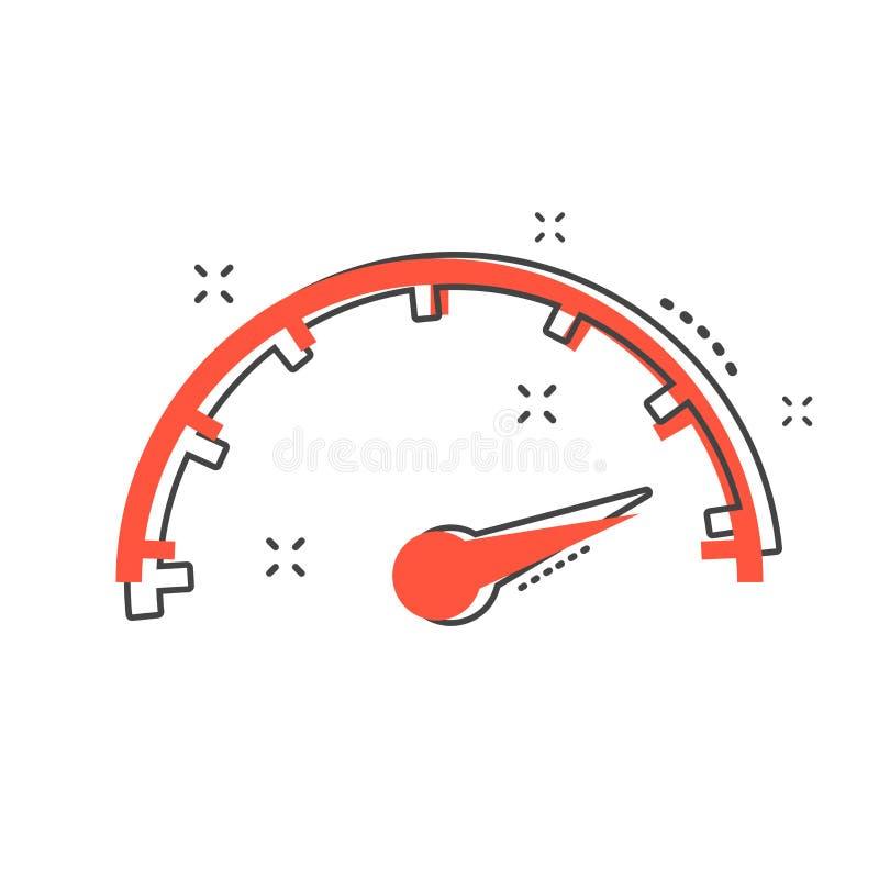 Ícone da velocidade máxima dos desenhos animados no estilo cômico Illustra do sinal do velocímetro ilustração royalty free